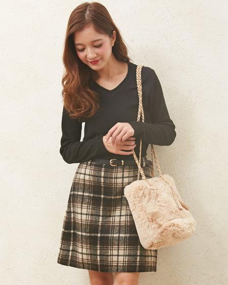 【一部カラー予約受付中】 ベルト付シャギーチェック台形/スカート