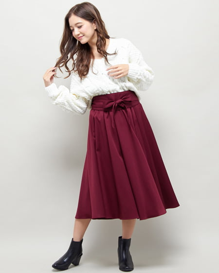 【2/5までの限定販売セット】モールケーブルニット+サッシュ付スカート/SET
