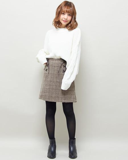 【2/5までの限定販売セット】袖ケーブルニット+レースUP台形スカート/SET