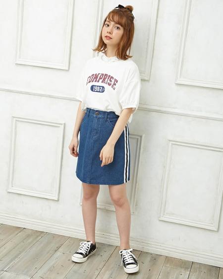 【INGNI STORE限定セット】ロゴTシャツ・レースセット+ライン台形スカート/SET