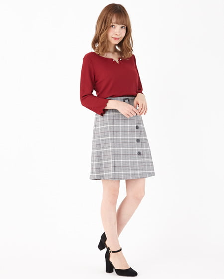 【INGNI STORE限定セット】パールピン付トップス+チェック台形スカート/SET