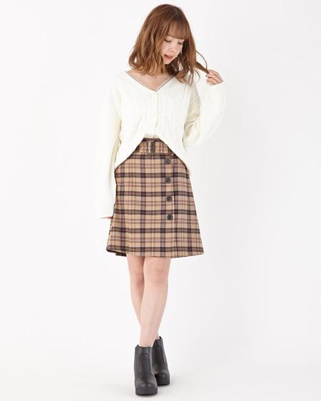 【INGNI STORE限定セット】モールケーブルショートカーデ+チェック台形スカート/SET