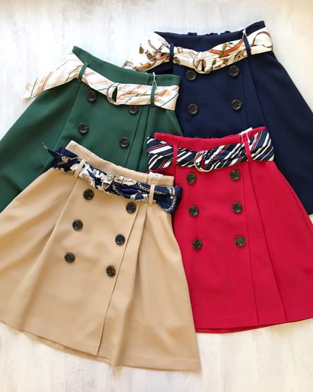 【インスタで人気】【春の新作】柄サッシュ付トレンチミニフレア/スカート