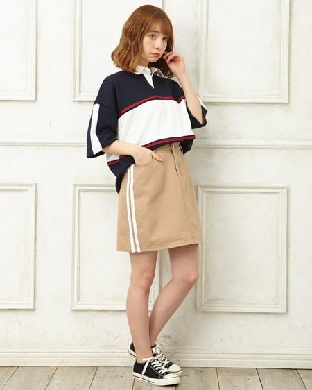 【INGNI STORE限定セット】配色ラガーシャツ+サイドライン台形スカート/SET
