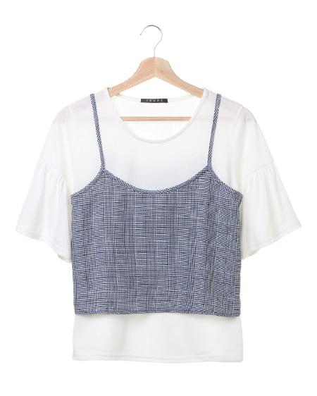 【秋の新作】チェックキャミ+Tシャツ/SET