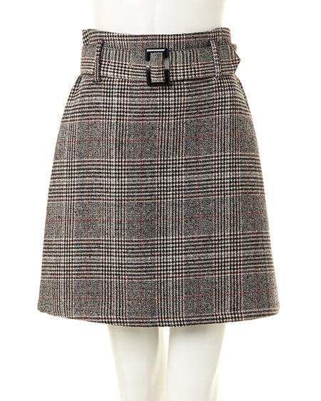 グレンチェック/台形スカート