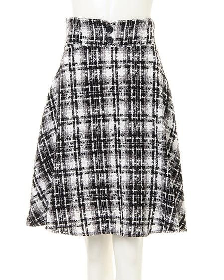 BACKレースUPツイードフレア/スカート