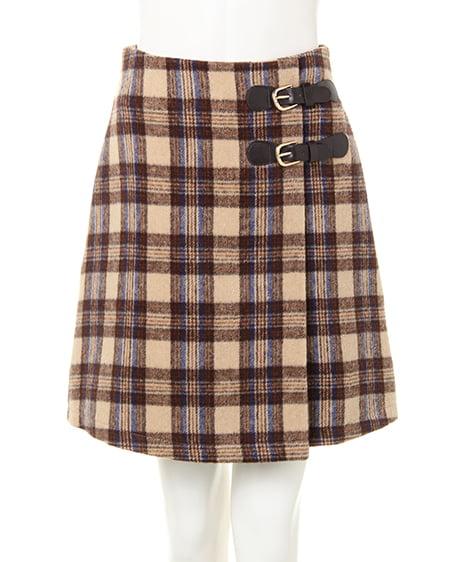 サイドベルトチェック柄台形/スカート
