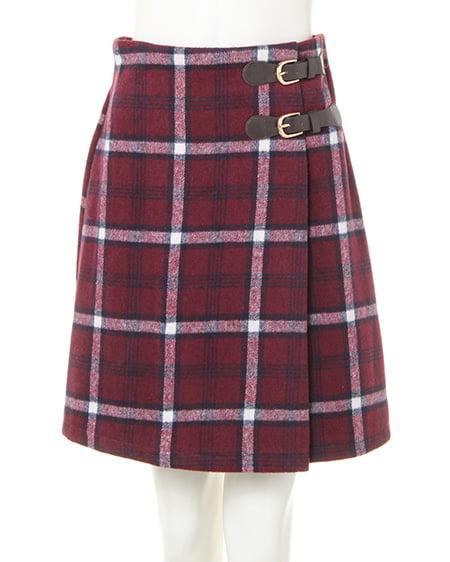 サイドベルト/シャギーチェック台形スカート