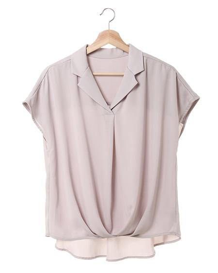 開襟トロミ裾タック/シャツ