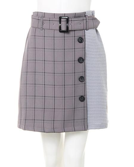【春の新作】柄切替チェック台形/スカート