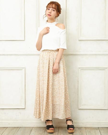 【INGNI STORE限定セット】ショルダーカットトップス+花柄スカート/SET