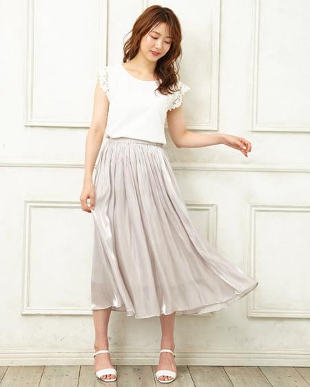23e40e6725655 INGNI(イング) シャイニーサテンギャザー/スカート