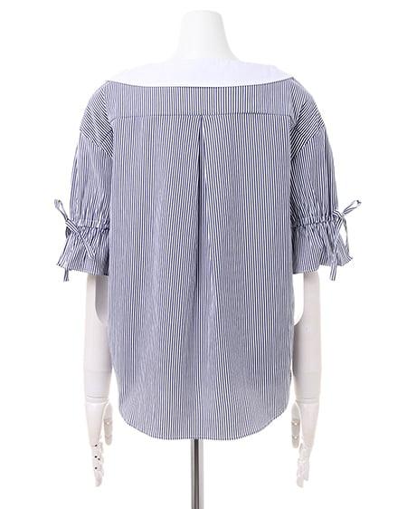 ... allamanda(アラマンダ) 抜き襟ストライプシャツ ブルー/ストライプ ...